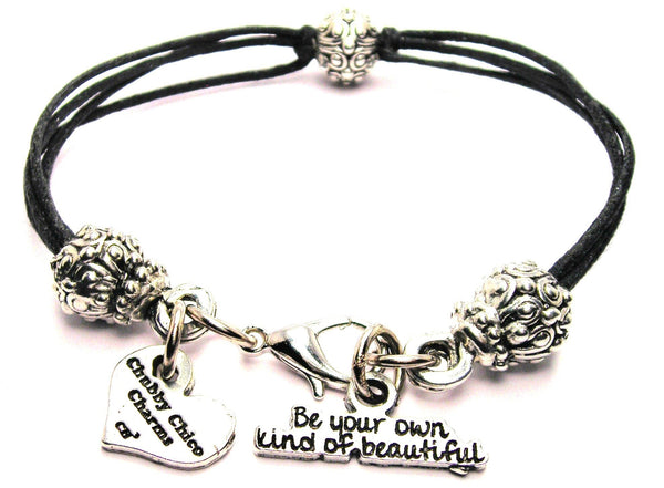 Be Your Own Kind Of Beautiful Beaded Black Cord Bracelet