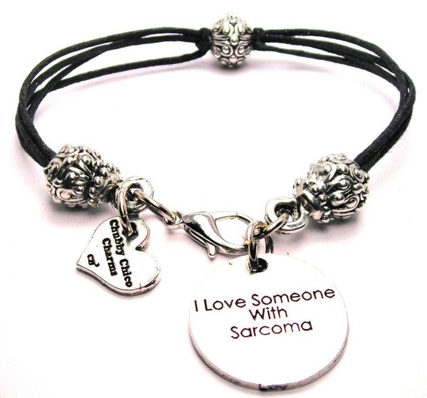 I Love Someone With Sarcoma Beaded Black Cord Bracelet