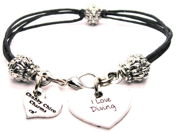 I Love Diving Beaded Black Cord Bracelet