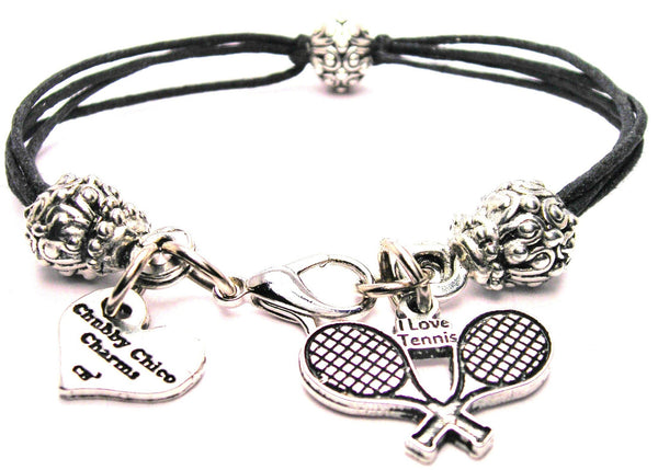 I Love Tennis With Crossed Racquets Beaded Black Cord Bracelet