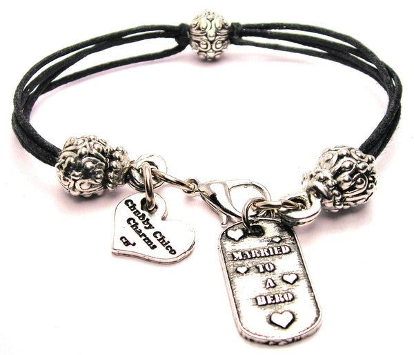 Married To A Hero Dog Tag Beaded Black Cord Bracelet