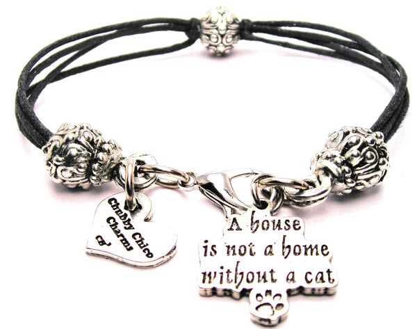 A House Is Not A Home Without A Cat Beaded Black Cord Bracelet