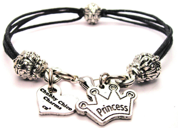 Princess With Crown Beaded Black Cord Bracelet