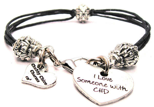 I Love Someone With CHD Beaded Black Cord Bracelet