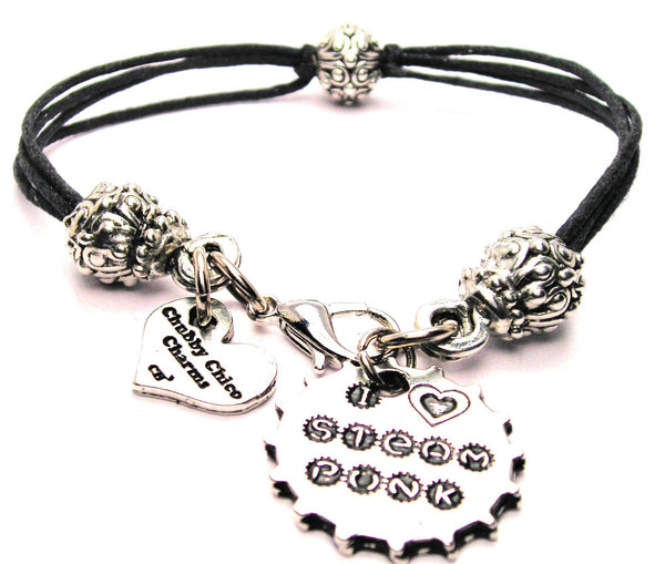 I Love Steam Punk Beaded Black Cord Bracelet
