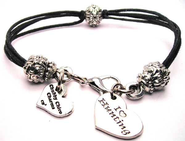 I Love Hunting Heart Beaded Black Cord Bracelet