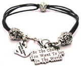 Be The Change You Want To See In The World Beaded Black Cord Bracelet