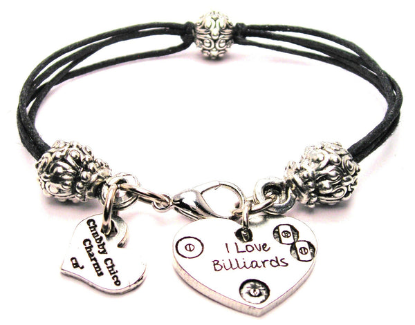 I Love Billiards Beaded Black Cord Bracelet