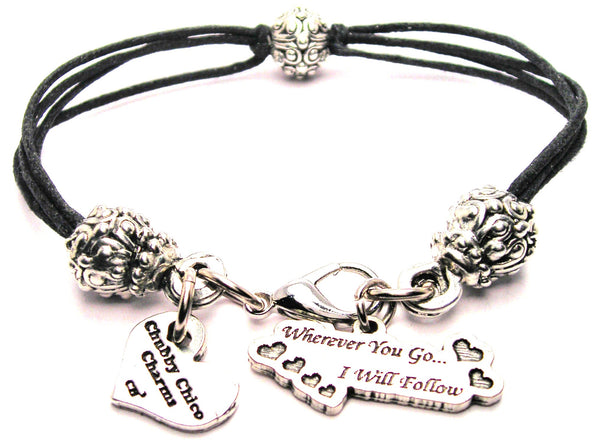 Wherever You Go I Will Follow Beaded Black Cord Bracelet