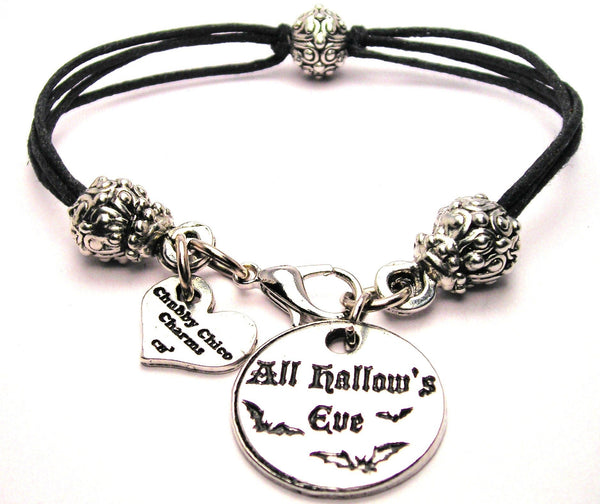 All Hallows Eve Circle With Bats Beaded Black Cord Bracelet