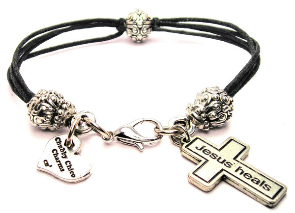 Cross Jesus Heals Beaded Black Cord Bracelet