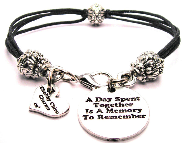 A Day Spent Together Is A Memory To Remember Beaded Black Cord Bracelet