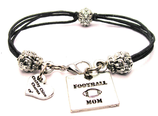 Football Mom Beaded Black Cord Bracelet
