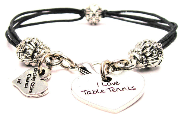 I Love Table Tennis Beaded Black Cord Bracelet