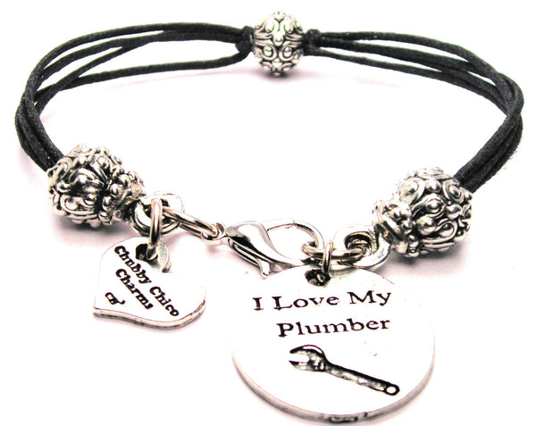 I Love My Plumber Beaded Black Cord Bracelet