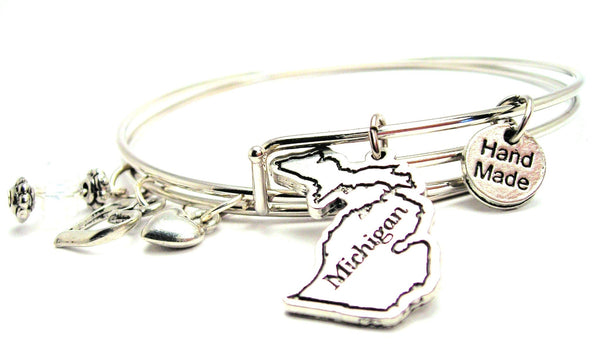 Michigan bracelet, Michigan bangles, Michigan jewelry, state of Michigan bracelet, Michigan state bracelet