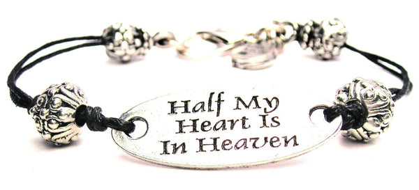 Half My Heart In Heaven Plate Black Cord Bracelet