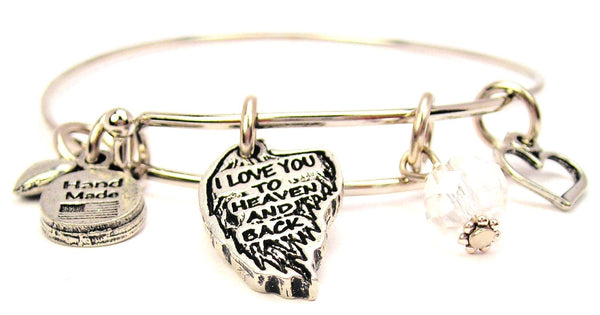 I Love You To Heaven And Back Angel Wing Expandable Bangle Bracelet