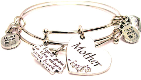 Mother Heart Expandable Bangle Bracelet with The I Love You To The Moon And Back Expandable Bangle Bracelet