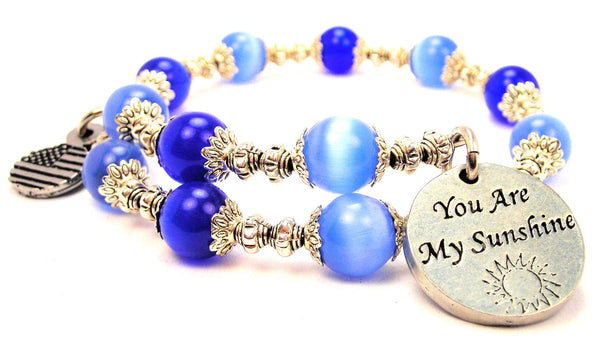 You Are My Sunshine Cats Eyes Glass Beaded Wrap Bracelet