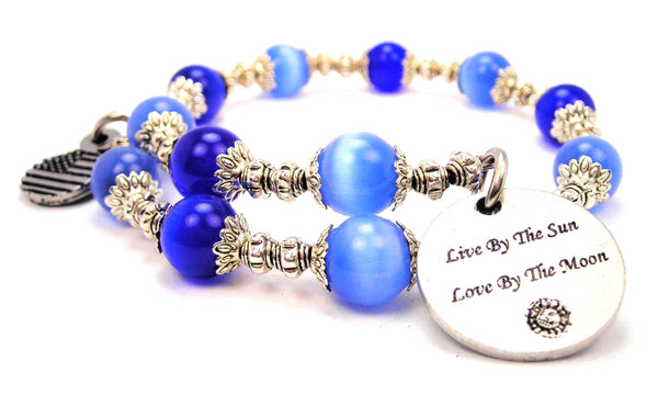 Live By The Sun Love By The Moon Cats Eyes Glass Beaded Wrap Bracelet