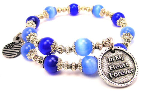 In My Heart Forever Cats Eyes Glass Beaded Wrap Bracelet