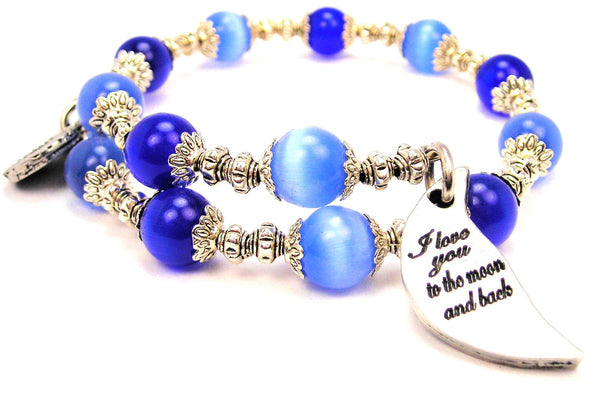 I Love You To The Moon And Back Crescent Moon Cats Eyes Glass Beaded Wrap Bracelet