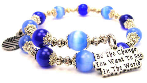 Be The Change You Want To See In The World Cats Eyes Glass Beaded Wrap Bracelet