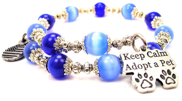 Keep Calm Adopt A Pet Cats Eyes Glass Beaded Wrap Bracelet