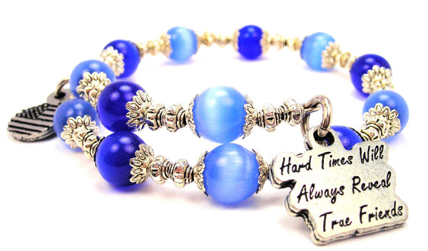 Hard Times Will Always Reveal True Friends Cats Eyes Glass Beaded Wrap Bracelet