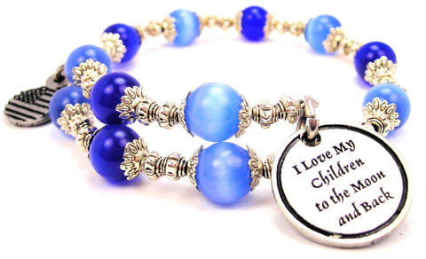 I Love My Children To The Moon And Back Cats Eyes Glass Beaded Wrap Bracelet