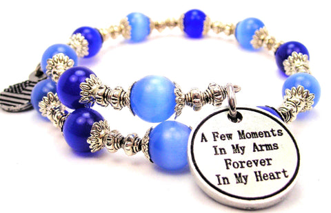 A Few Moments In My Arms Forever In My Heart Cats Eyes Glass Beaded Wrap Bracelet