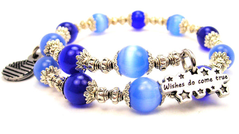 Wishes Do Come True Cats Eyes Glass Beaded Wrap Bracelet
