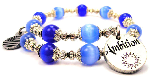 Ambition Cats Eyes Glass Beaded Wrap Bracelet