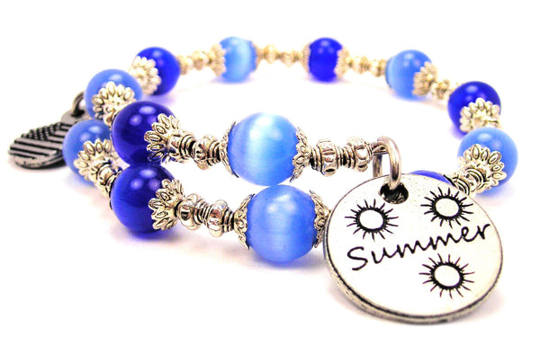 Summer Cats Eyes Glass Beaded Wrap Bracelet