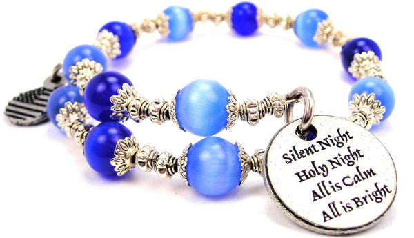 Silent Night Holy Night Cats Eyes Glass Beaded Wrap Bracelet