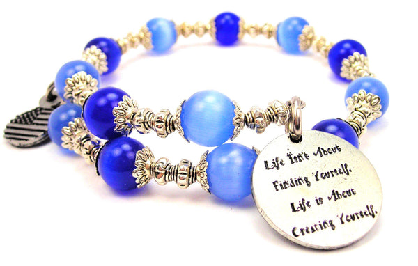 Life Isn't About Finding Yourself Cats Eyes Glass Beaded Wrap Bracelet