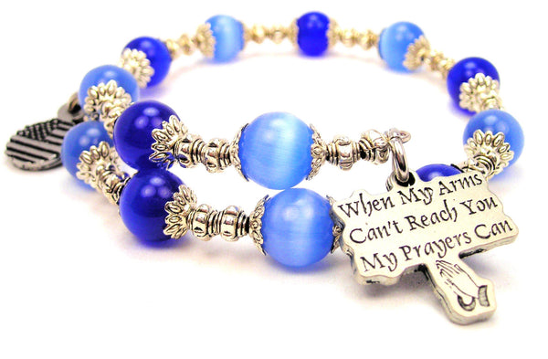 When My Arms Can't Reach You My Prayers Can Cats Eyes Glass Beaded Wrap Bracelet