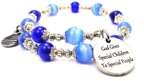 God Gives Special Children To Special People Cats Eyes Glass Beaded Wrap Bracelet