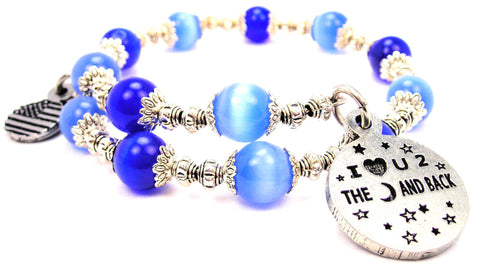 I Love U 2 The Moon And Back Cats Eyes Glass Beaded Wrap Bracelet
