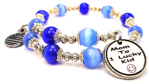 Mom To One Lucky Kid Cats Eyes Glass Beaded Wrap Bracelet