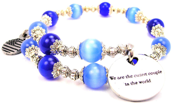 We Are The Cutest Couple In The World Cats Eyes Glass Beaded Wrap Bracelet