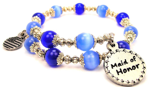 Maid Of Honor Cats Eyes Glass Beaded Wrap Bracelet