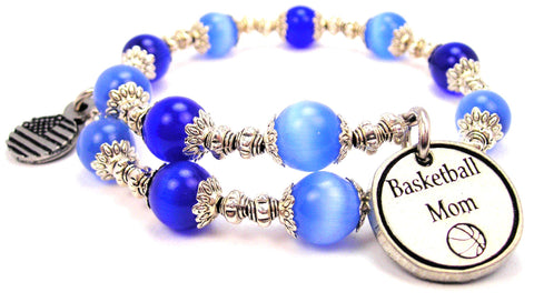 Basketball Mom Cats Eyes Glass Beaded Wrap Bracelet