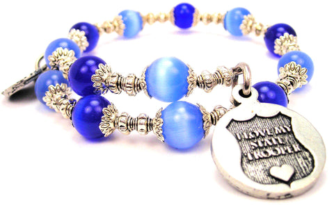I Love My State Trooper Cats Eyes Glass Beaded Wrap Bracelet