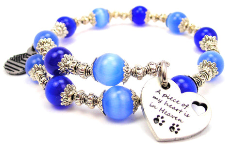A Piece Of My Heart Is In Heaven With Paw Prints Cats Eyes Glass Beaded Wrap Bracelet