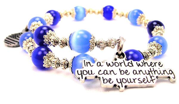 In A World Where You Can Be Anything Be Yourself Cats Eyes Glass Beaded Wrap Bracelet