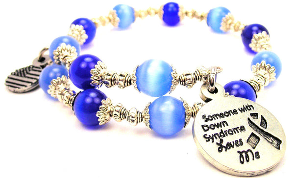 Someone With Down Syndrome Loves Me Cats Eyes Glass Beaded Wrap Bracelet