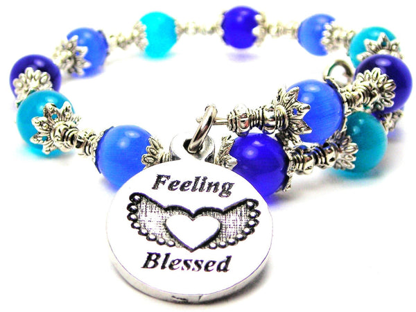 Feeling Blessed Cats Eyes Glass Beaded Wrap Bracelet