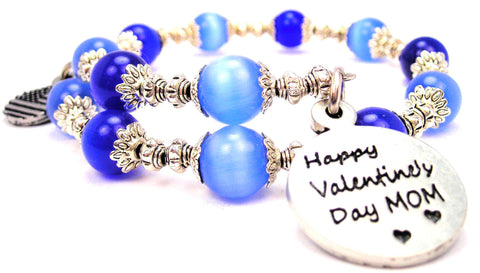 Happy Valentine's Day Mom Cats Eyes Glass Beaded Wrap Bracelet